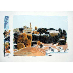 "Arieh Azene ""Tower of David"" Serigraph-Israel-Cart"
