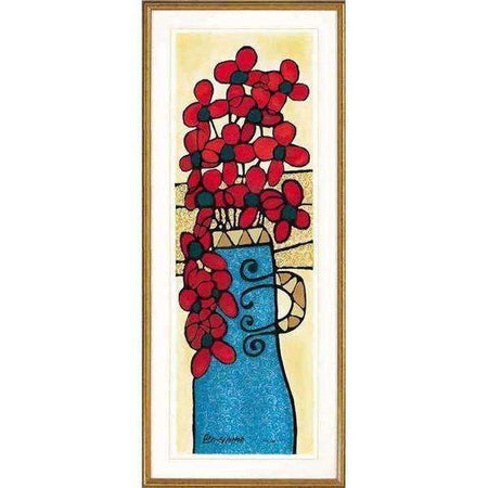 Avi Ben-Simhon - Blue Vase - Israel Art Signed and Numbered by the Artist-Israel-Cart