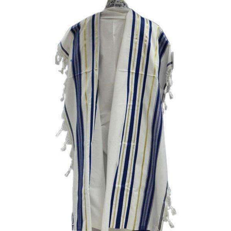 Blue and Gold Stripes Tallit Prayer Shawl (18X73 inch)