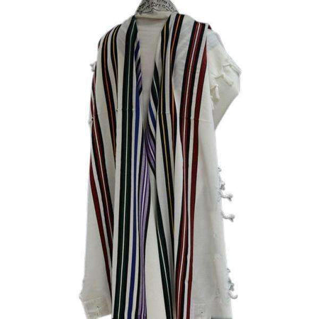 Bnei Or Wool Rainbow Colors Stripes Tallit Prayer Shawl size 18 17.7x72.8