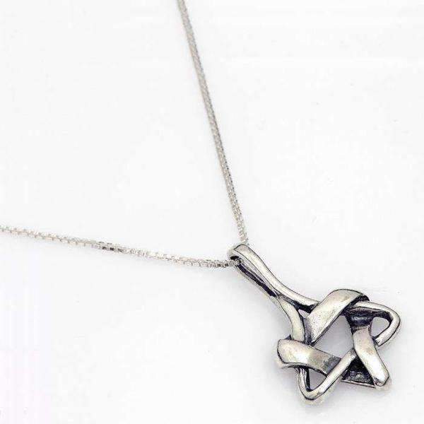 Braided Silver Star of David Necklace-Israel-Cart