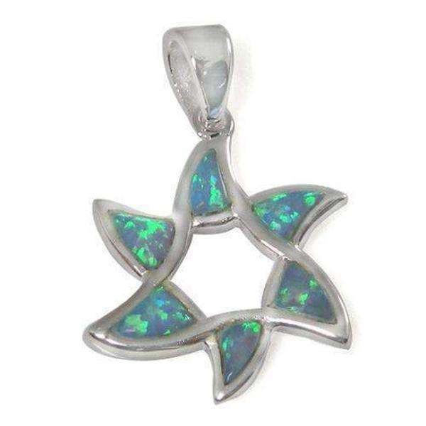 Flower Shape Star of David Necklace, Silver & Opal-Israel-Cart