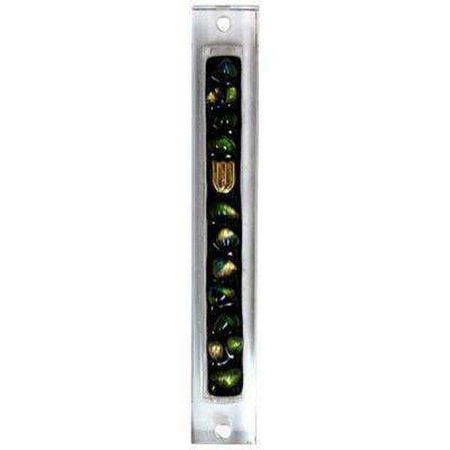 Glass Mezuzah with Gold Green Decorations on Stripe in Black-Israel-Cart