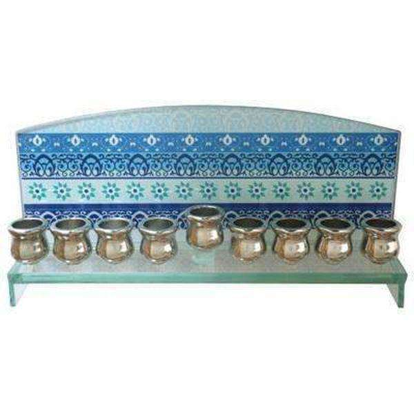Glass Rectangle Hanukkah Menorah with Blue Painted-Israel-Cart