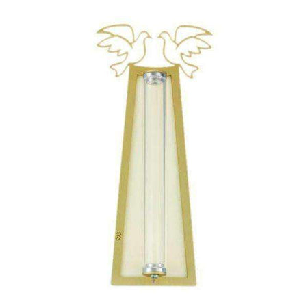 Gold Dove Shraga Landesman Mezuzah Case White Back and Broken Glass Holder-Israel-Cart