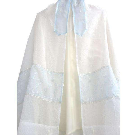 Light Blue Floral Tallit Prayer Shawl by Galilee Silks