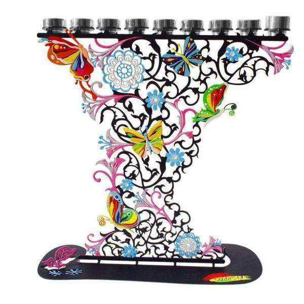 Metal Hanukkah Menorah Hand Painted Flowers & Butterflies,-Israel-Cart