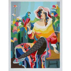 "Michael Kerman ""Lady with a Parrot"" 1993 Serigraph"
