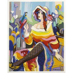 "Michael Kerman ""Lady with a Parrot"" 2004 Serigraph-Israel-Cart"