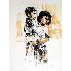 "Moshe Gat  ""Mother and Son"" Lithograph-Israel-Cart"