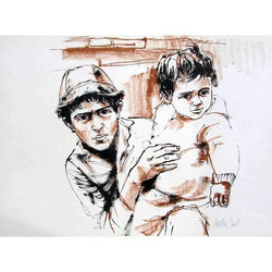 "Moshe Gat ""Father and Son"" Lithograph-Israel-Cart"