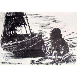 "Moshe Gat ""Fisherman and his Boat"" Lithograph-Israel-Cart"