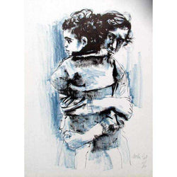 "Moshe Gat ""Mother Holding Child"" Lithograph-Israel-Cart"