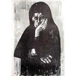 "Moshe Gat ""Old Woman"" Lithograph-Israel-Cart"