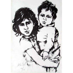 "Moshe Gat ""Sisterly Love"" 1964 Lithograph-Israel-Cart"
