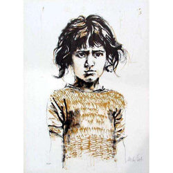"Moshe Gat ""Young Girl"" Lithograph-Israel-Cart"