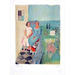 Nahum Gutman Two girls on Balcony signed on the plate