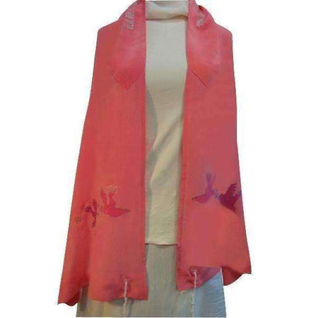 Peach Silk tallit for women with Hand Painted-Israel-Cart