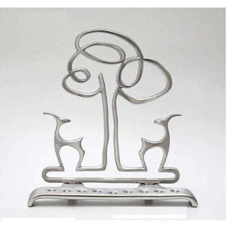 Shraga Landesman Cast Aluminum Deer and Tree, Hanukkah Menorah-Israel-Cart
