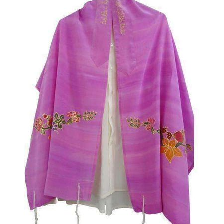 Silk Tallit Prayer Shawl with Holyland Fruits and Flowers