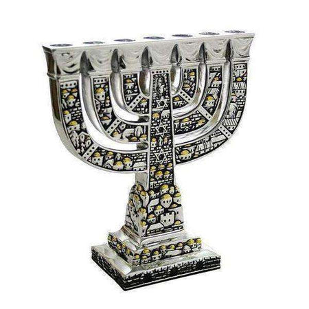 Silver and Gold Colored Seven Branch Menorah-Israel-Cart