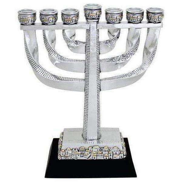 Silver and Gold Colored Seven Branch Twisty Menorah-Israel-Cart