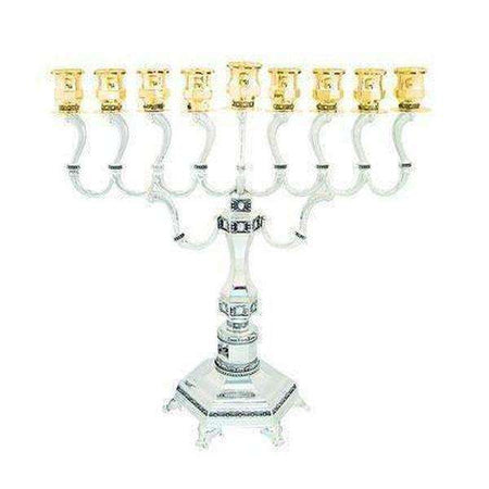 Silver and Gold plated Diamond Design Hanukkah Menorah-Israel-Cart