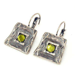 Silver Plated and Green Crystal Earrings , Israeli Jewelry Size (Inch): 0.6 x 0.6-Israel-Cart