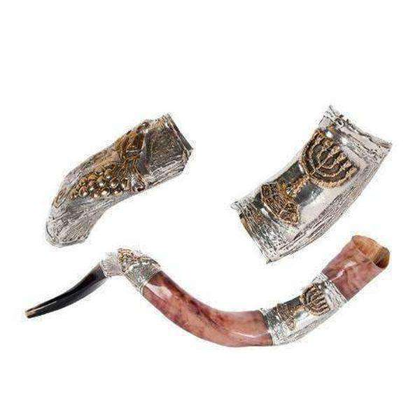 Silver Plated Yemenite Shofar with Menorah and Grapes-Israel-Cart