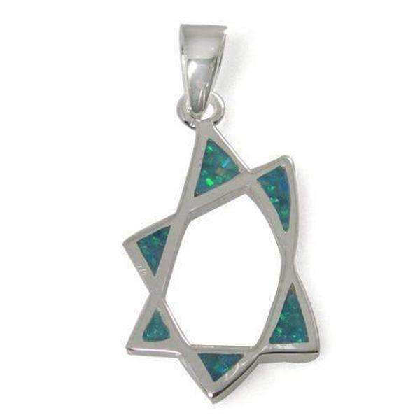 Star of David Necklace with a Twist, Silver & Opal-Israel-Cart