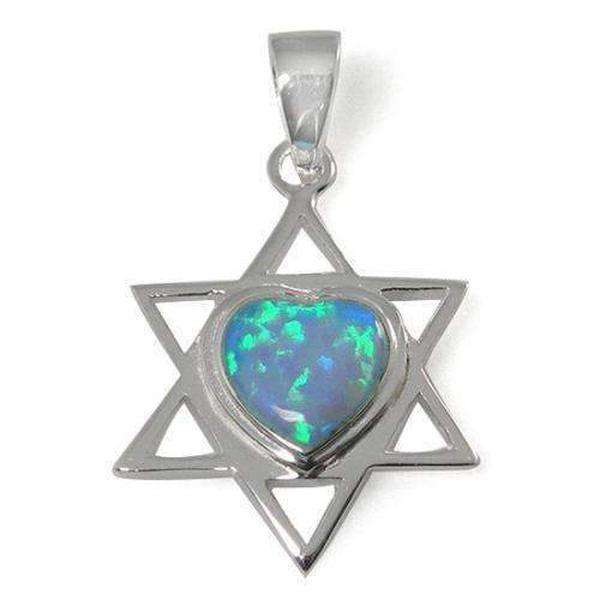Star of David Necklace with Heart Combination, Silver & Opal-Israel-Cart