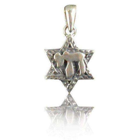 Textured Silver Star of David Necklace with Chai-Israel-Cart