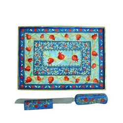 Hand Painted Challah Board Pomegranate Design by Yair Emanuel