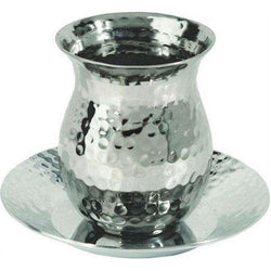 Silver Plated Nickel Kiddush Cup Oval with Hammer Work