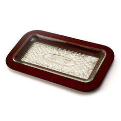 Rectangle Challah Board Polished Wood and Silver plate