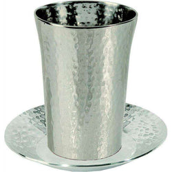 Silver Plated Nickel Kiddush Cup Straight with Hammer Work