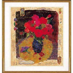 Wissotzky/Alexander - Red Flowers in a Vase Serigraph, Signed on plate-Israel-Cart
