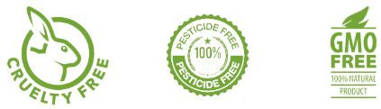 cruelty free, pesticide free and GMO free logos