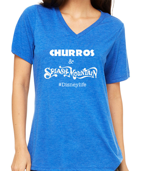 Churros & Splash Mountain  Women's V-Neck