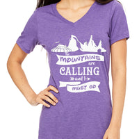 The Mountains are Calling and I must go  Women's V-Neck
