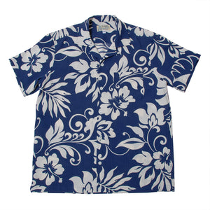 "Cotton Aloha Shirts ""Hibiscus Navy"""