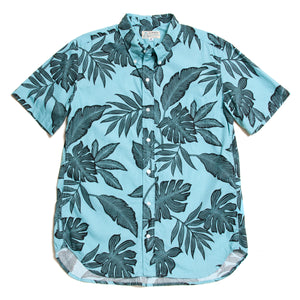 "Hawaiian Button Down Shirts ""Leaves Aqua"" / Made in Hawaii U.S.A."