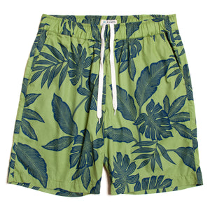 "Cotton Aloha Walk Shorts ""Leaves Green"" / Made in Hawaii U.S.A."