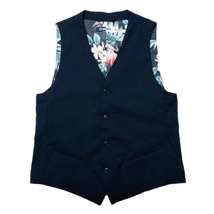 "TROPICAL WOOL GILET ""Dark Navy"" / Made in U.S.A."