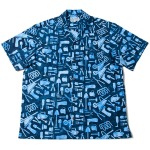 "Batik Aloha Shirts ""Garden Tools"" / Made in Hawaii U.S.A."