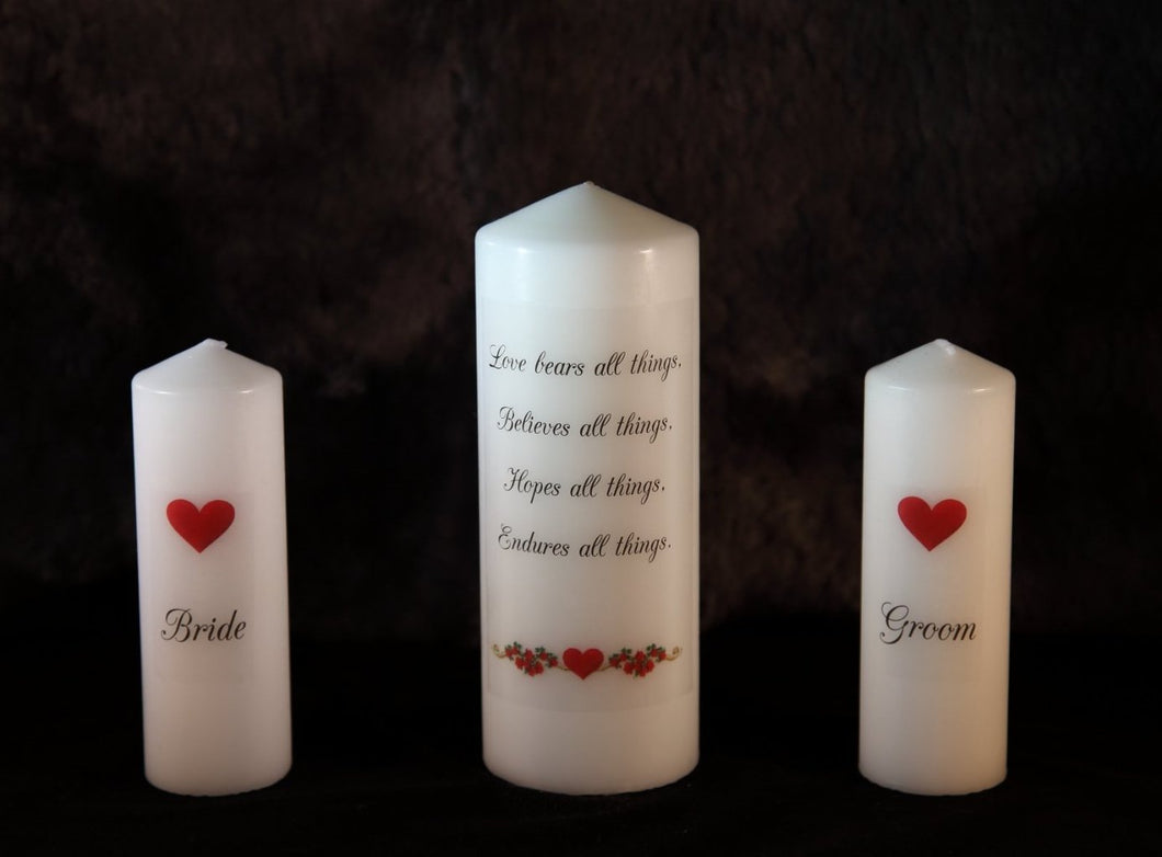 Wedding Unity Candle Set - Love Hearts