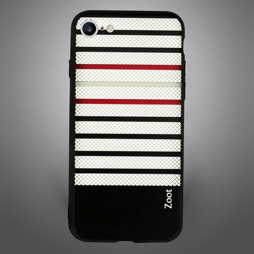Black with White and red stripes