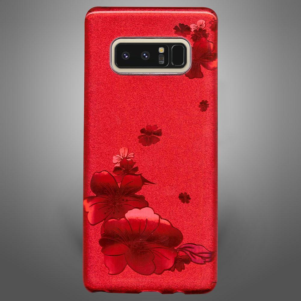 Glitter Back Cover Flower Red