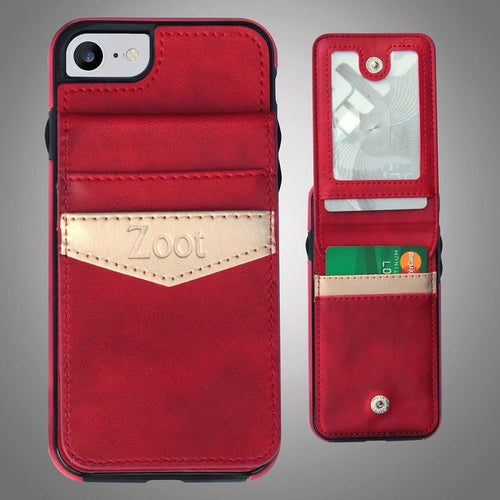 Leatherette Back Cover with Card Holder Red