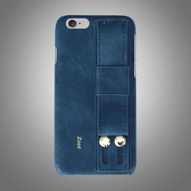 Leatherette Back Cover with Strap Blue